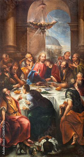 LIMONE SUL GARDA, ITALY - MAY 9, 2015: The painting of Last Supper in church Chiesa Parrocchiale di S. Benedetto by unkonwn baroque artist.