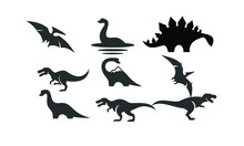 Dinosaur Set Logo Black Icon D...