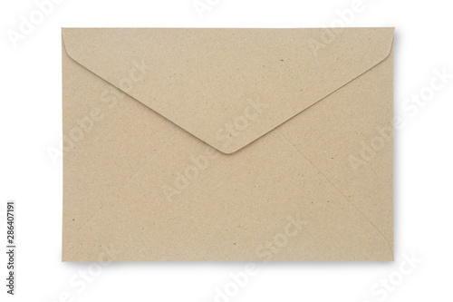 Fotografía Close up Kraft Paper envelope isolated on white background with clipping path