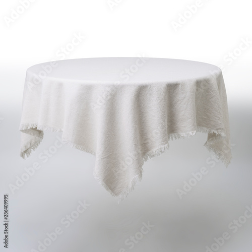 Fototapeta  White round table and cloth