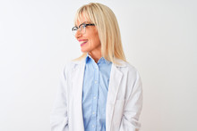 Middle Age Scientist Woman Wearing Glasses Standing Over Isolated White Background Looking Away To Side With Smile On Face, Natural Expression. Laughing Confident.