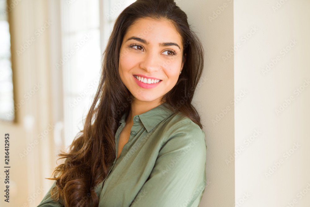 Fototapety, obrazy: Beautiful brunette woman smiling cheerful, looking happy and positive with crossed arms