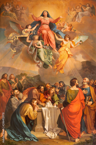 RIVA DEL GARDA, ITALY - JUNE 13, 2019: The painting Assumption in church Chiesa di Santa Maria Assunta by Giuseppe Craffonara (1830).