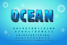 Cute Glossy Blue Water Alphabet , Vector, EPS10. Funny Cartoon Shine Icy Font - Letter From A To Z, Vector Clip Art For Your Christmas Design Or Text