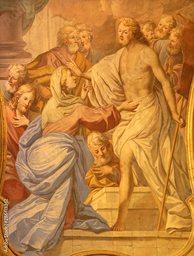 ACIREALE, ITALY - APRIL 10, 2018: The fresco apparition of resurrected Jesus to his mother and apostles in Basilica Collegiata di San Sebastiano by Pietro Paolo Vasta (1730).