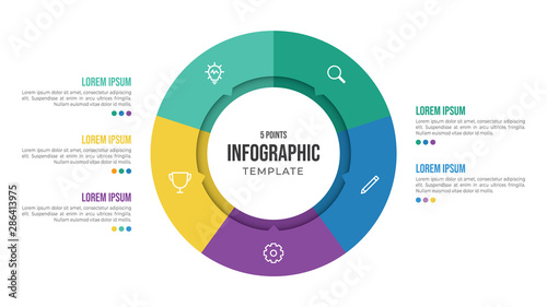 Photographie  5 points circular infographic element template with icons and colorful flat styl