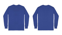 Blank Plain Blue Long Sleeve T...