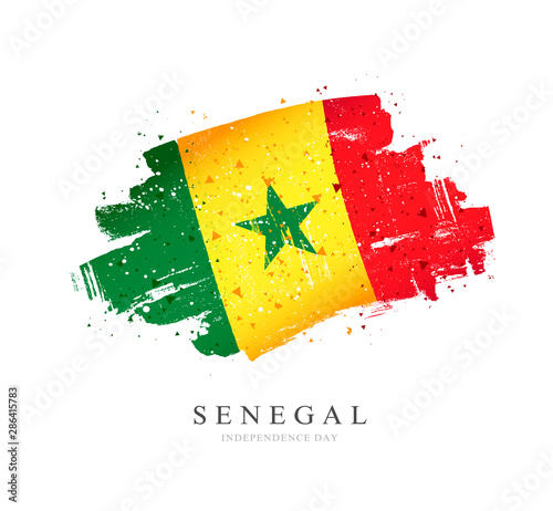 Photo Flag of Senegal. Vector illustration on a white background.