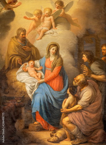 CATANIA, ITALY - APRIL 7, 2018: The painting of Nativity in church Chiesa di San Placido by Stefano Tofanelli (1750 - 1812).