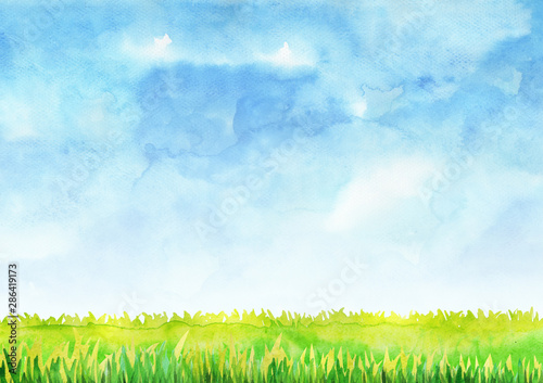 Foto auf Gartenposter Licht blau Green grass filed with blue sky watercolor hand painting background.