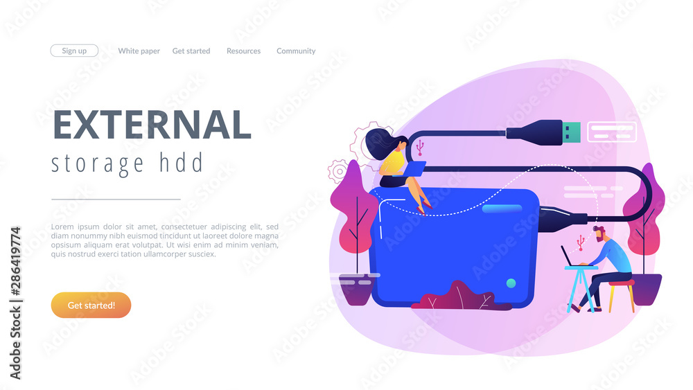 Fototapety, obrazy: Tiny business people at laptops using portable external hard drive. External hard drive, data storage device, external storage hdd concept. Website vibrant violet landing web page template.