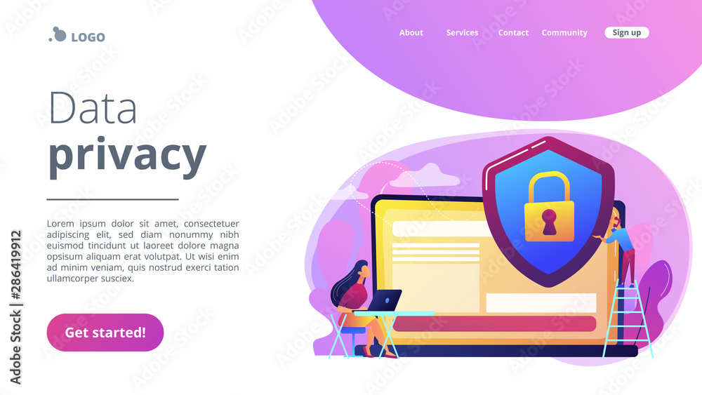 Fototapety, obrazy: Tiny people businessman with shield protecting data on laptop. Data privacy, information privacy regulation, personal data protection concept. Website vibrant violet landing web page template.