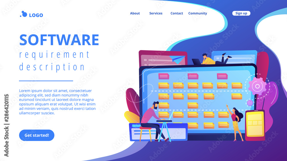 Fototapeta Tiny people developers at laptop and customer requirements. Software requirement description, user case agile tool, business analysis concept. Website vibrant violet landing web page template.