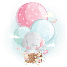 Cute Elephant Flying With Ball...