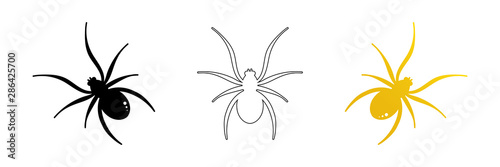 Set, collection of spider vector icons, symbols for halloween design Canvas Print