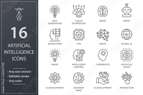 Obraz Artificial intelligence line icons set. Black vector illustration. Editable stroke. - fototapety do salonu
