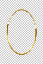 Golden Oval Isolated On Transparent Background. Vector Golden Frame.