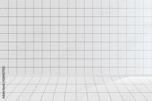 White tile realistic vector background Fototapet