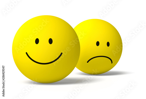 Photo  Happy and unhappy 3D emoji friends