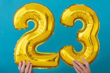 Gold Foil Number 23 Twenty Three Celebration Balloon On Blue Background