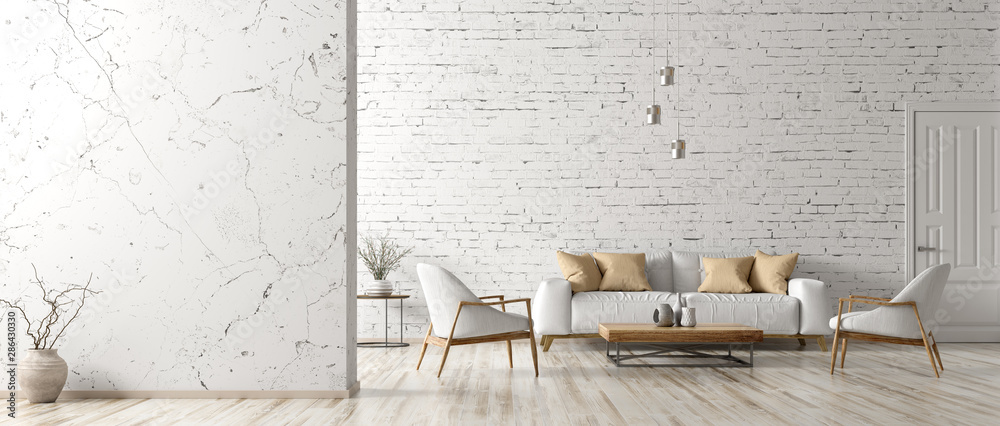 Fototapety, obrazy: Interior of living room with white sofa 3d rendering