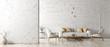 Leinwanddruck Bild - Interior of living room with white sofa 3d rendering