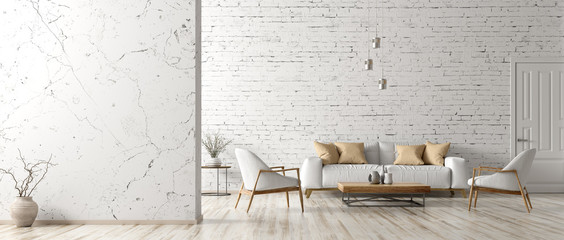 Interior of living room with white sofa 3d rendering