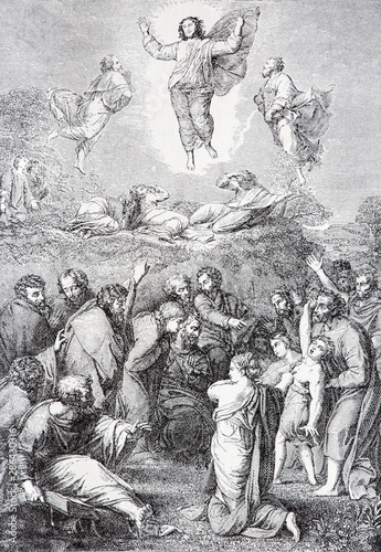 SEBECHLEBY, SLOVAKIA - JULY 27, 2015: The Ascension of the Lord lithography by unknown artist in the book