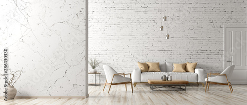 Fototapeta Interior of living room with white sofa 3d rendering obraz