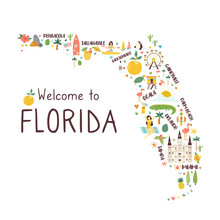 Illustrated Abstract Map Of Fl...