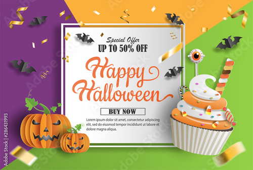 Fényképezés  Halloween sale promotion banner with discount offer on special occasion, give voucher, banner, poster or background, paper art and craft style, cupcake and pumpkins with sweets decorations