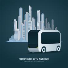Futuristic Bus And Future City On Background. Future City Bus Concept Vector Illustration. Future Electric Transport.