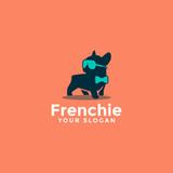 cute adorable french bulldog logo
