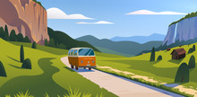 Vector Flat Summer Landscape Illustration, Wild Nature View: Sky, Mountains, Meadow, Minivan Rides On The Road. For Car Travel Banner, Road Trip Card, Vacation Touristic Advertising, Brochure, Flayer.