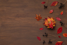 Bouquet Of Colored Dry Leaves And Berries On Wooden Floor