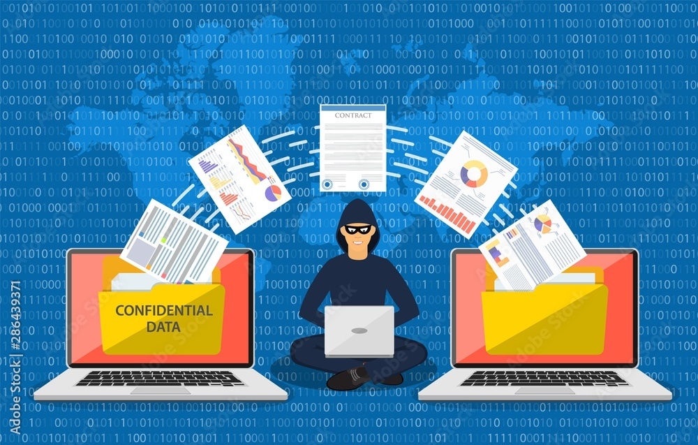 Fototapeta Data phishing, hacker attack.Thief hacker in mask stealing personal information from laptop. Concept hacking. Vector illustration in flat style