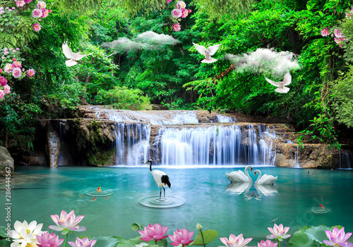 Photo Stands Forest river 3d background nature wallpaper