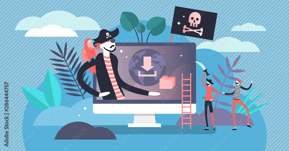 Fototapeta Online piracy vector illustration. Flat tiny illegal hacker persons concept