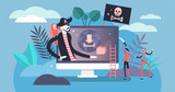 Online piracy vector illustration. Flat tiny illegal hacker persons concept