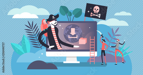Fotografering Online piracy vector illustration