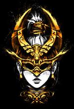 Girl In Golden On Half Faces Masks With Horns And Black Eyes . 2D Illustration.