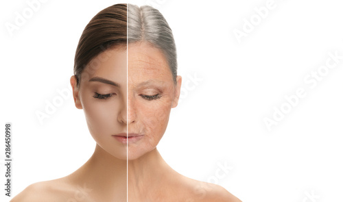 Fototapeta Beautiful female face isolated on white background. Concept of bodycare, cosmetics, skincare and lifting, correction surgery, beauty and perfect skin. Colorful flyer for your advertising. Antiaging. obraz na płótnie