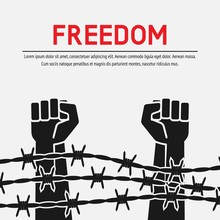 Fighting For Freedom Concept. Hands Clenched Into Fist Behind Barbed Wire