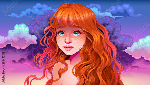 Poster Kinderkamer Girl with red hair and freckles in the sunset
