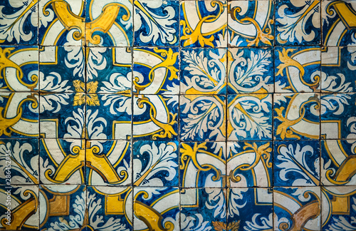 Background of vintage ceramic tiles Canvas Print