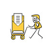 businessman carry trolley with mail stick figure theme