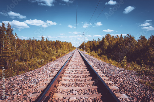 Recess Fitting Railroad Railway view from Kuhmo, Finland.