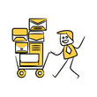 businessman carry mails on trolley yellow stick figure design