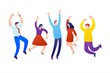Group people jumping with raised hands isolated on white background.