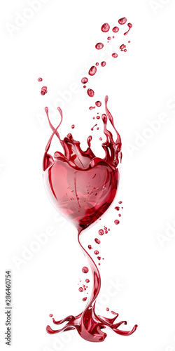 Red wine glass with splash over white background, abstract 3d rendering